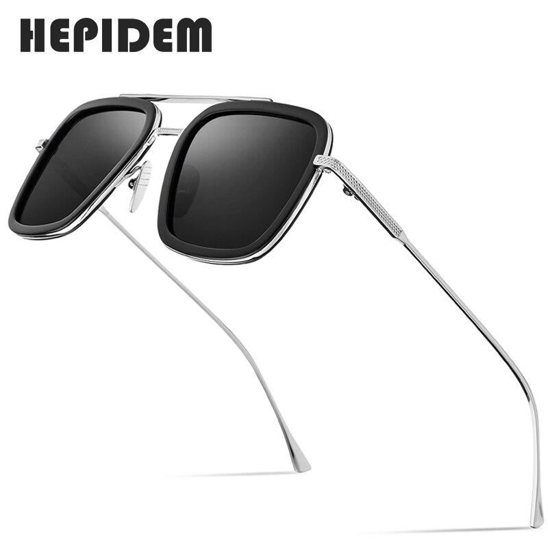 Hepidem acetato puro titânio polarizado óculos de sol masculino retro tony stark vintage edith óculos de sol para mulher 9119