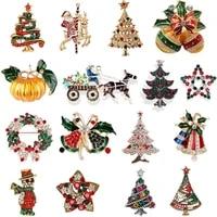 christmas brooch for women men brooch skiing santa snowman pin badge gloves socks crutches bells wreaths christmas jewelry