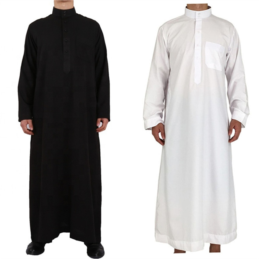 Men Muslim Jubba Thobe Solid Long Sleeve Robes Middle East Casual Traditional Prayer Arab Dubai Qatar Islamic Clothing