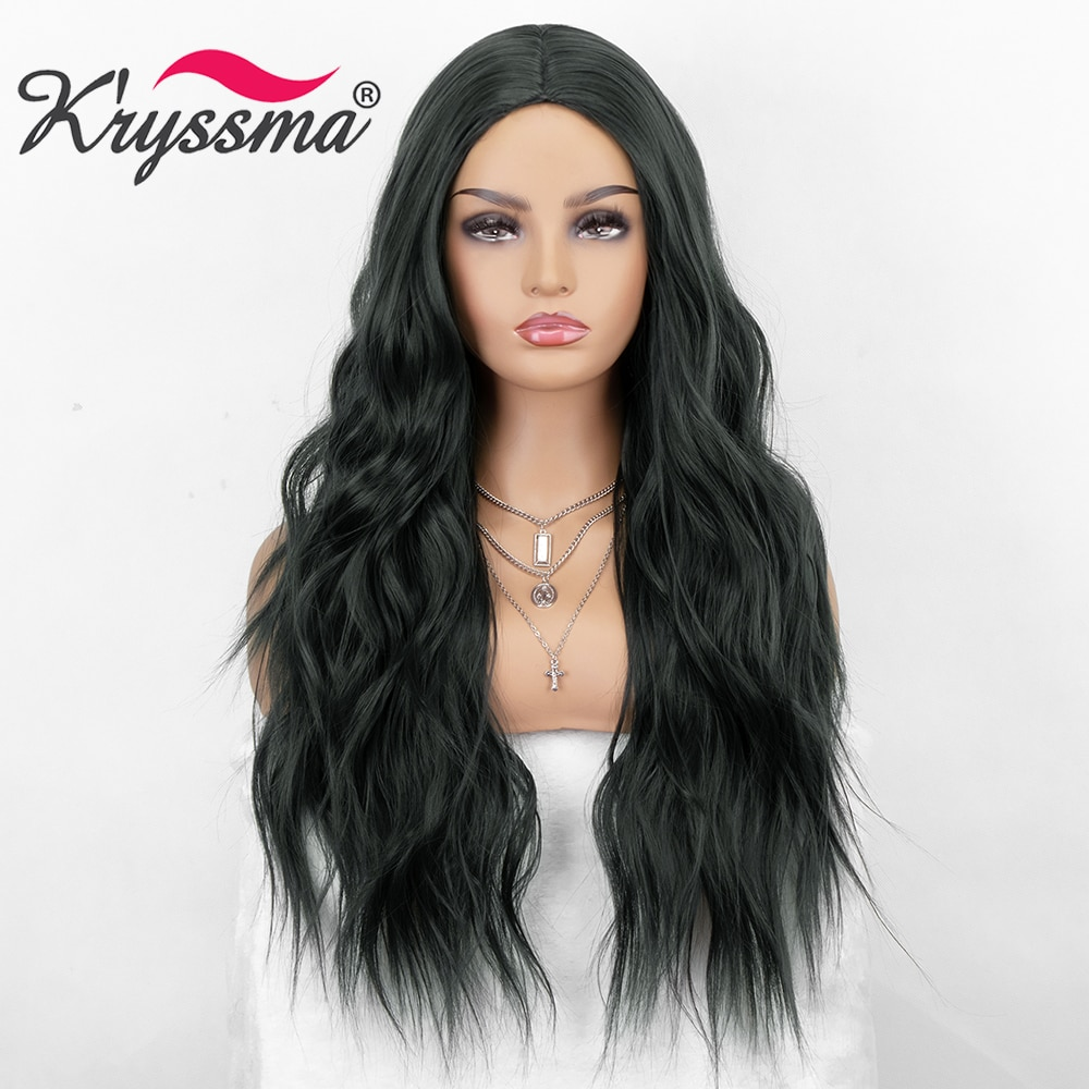 Kryssma Dark Green Wig Body Wave Wigs For Women Long Wavy Synthetic Wig Ash Green Cosplay Wigs Heat Resistant Fiber Hair Wig