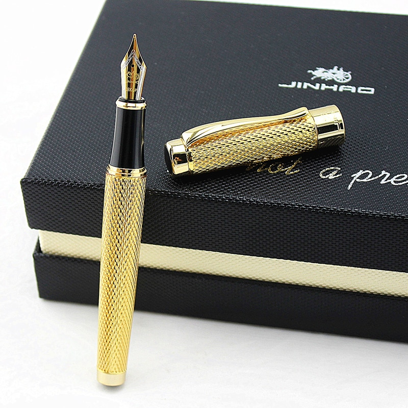 jinhao Fountain Pen Gold Unique Style Iridium Medium Nib 0.5mm Writing Pen Business Office Home Supplies ink Pen Gift box new jinhao 159 fountain pen iridium fine nib 0 5mm excellent fashion office writing gift pen for business