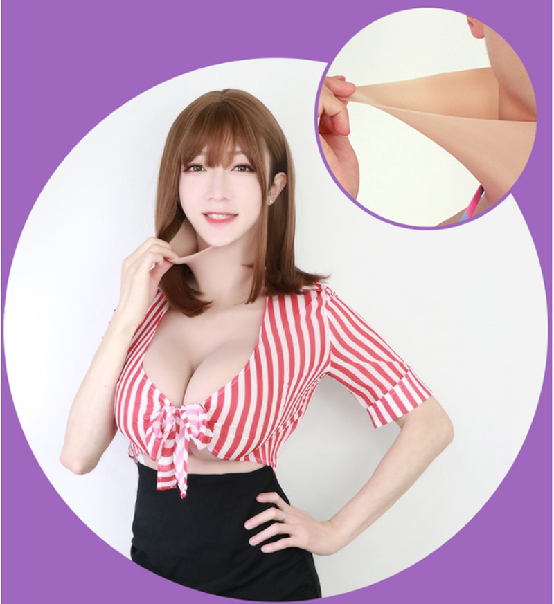 G Cup Boobs Fake Beast Form In Realistic Stretchy Soft Silicone Used for Shemale Transgender Crossdresser  Men Bodysuit Mens Bra