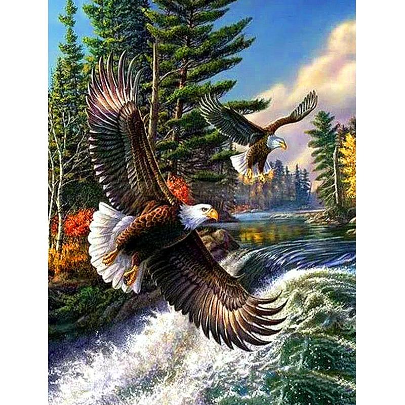 Cuadro de bordado de diamantes «Animal eagle» 3D DIY, cuadro de diamantes de imitación, pintura de punto de cruz, decoración bordada con aguja