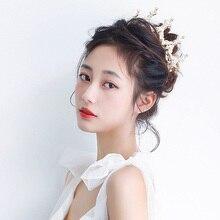 Korean Internet Celebrity Bridal Wedding Dress Hairband Decoration Simple Rhinestone Crown Jewelry F
