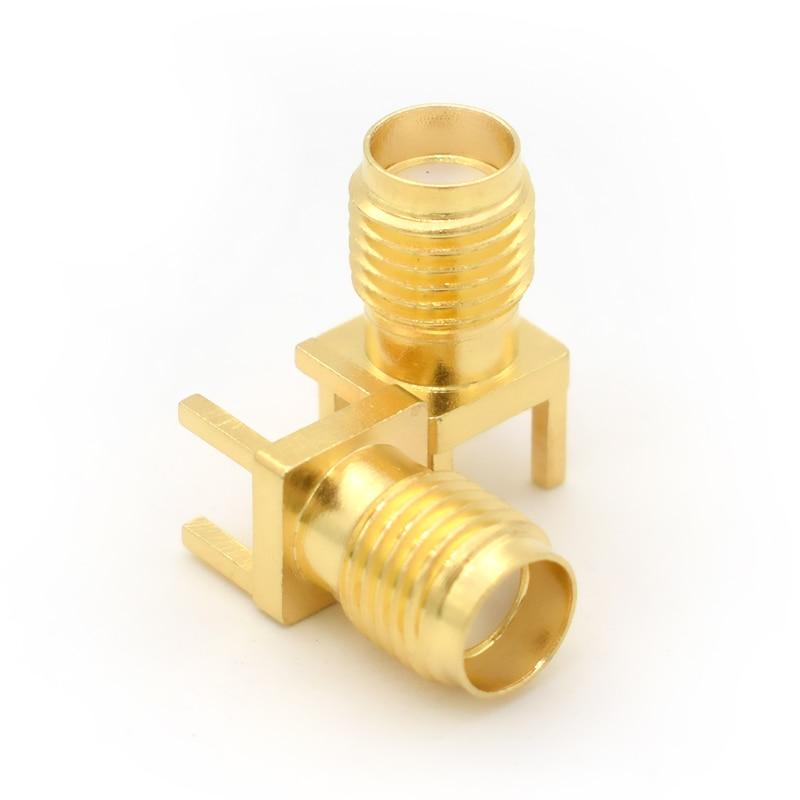 10 Uds 1,6mm SMA-KE/SMA-KHD clavija soldadura hembra borde de la tuerca PCB montaje recto oro plateado conector RF soldadura de receptáculo