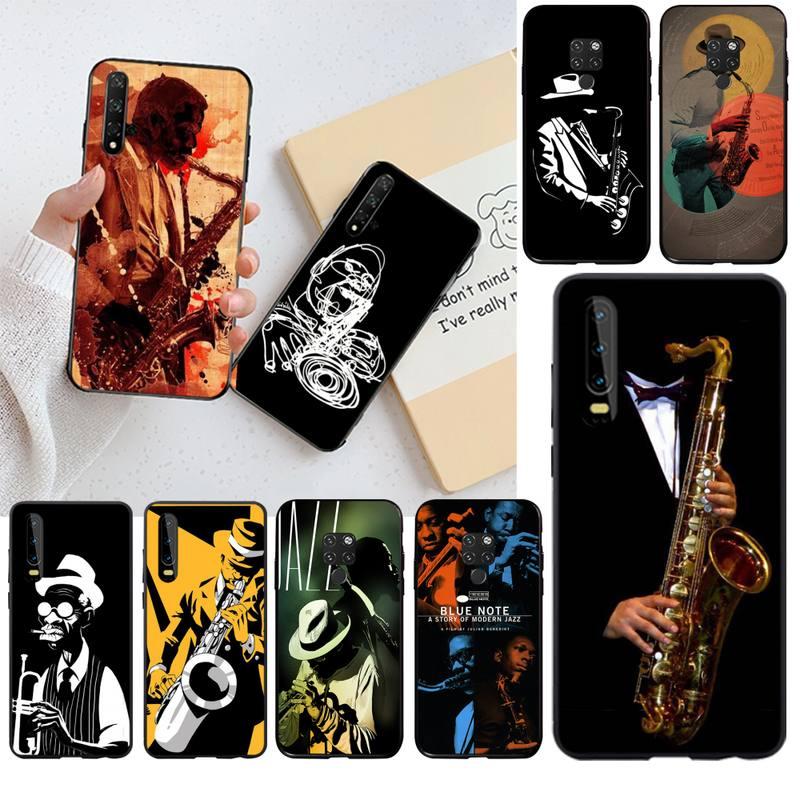 HPCHCJHM bleu Note Jazz musique disques couverture noir souple téléphone étui pour Huawei P40 P30 P20 lite Pro Mate 20 Pro P Smart 2019 prime