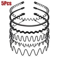 15pcs unisex men women headband invisible sports female back metal non slip wave hairband fashion unisex hair accessories