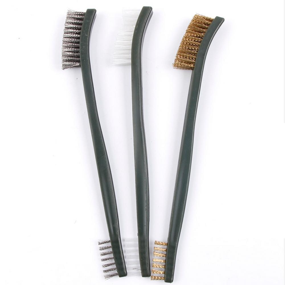Juego de 3 Uds de minicepillo de alambre, limpieza de acero, latón y nailon, detalle de pulido, cepillo para óxido metálico