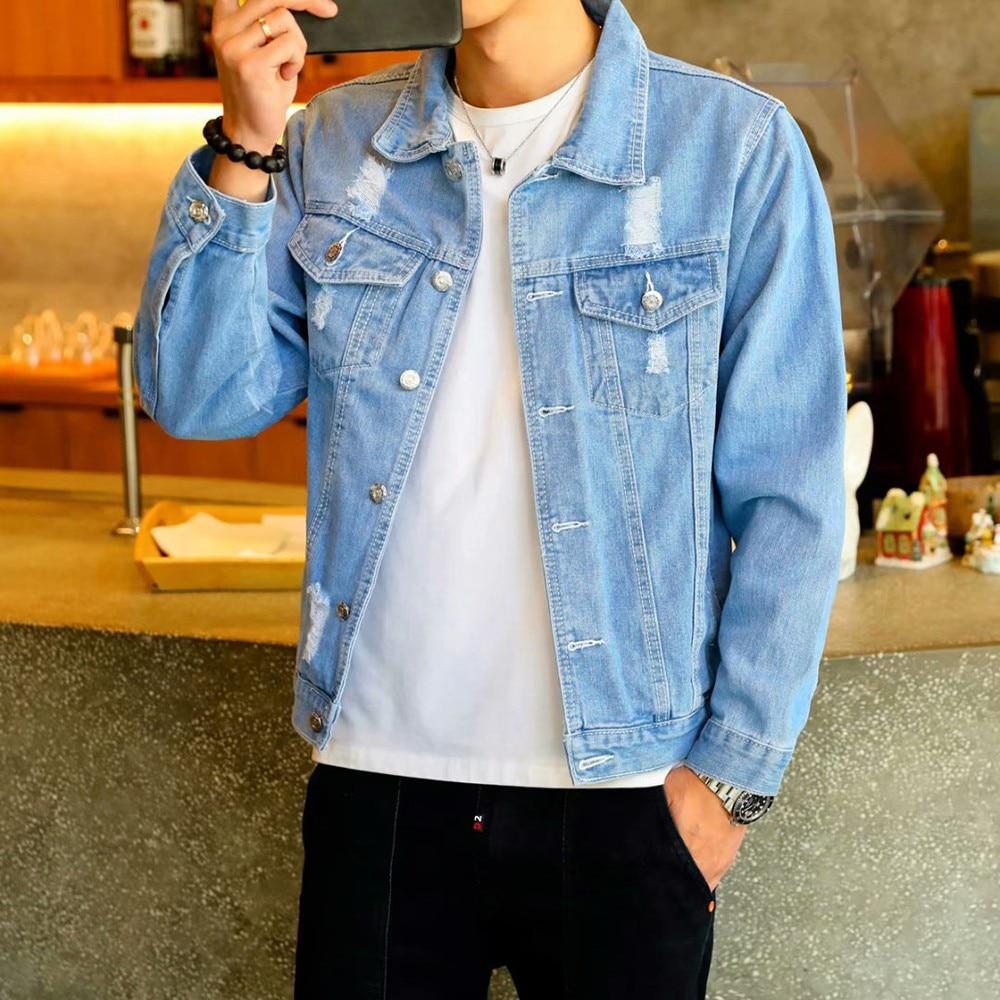 Chaqueta vaquera para hombre, chaqueta para hombre, estilo piloto de calle Retro de Hip Hop, Harajuku, a la moda, ajustada, informal, abotonada, azul cielo, Spandex/algodón