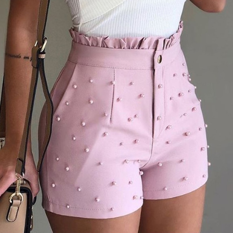 2021 New Fashion Solid Color High Waist Button Ruffled Beaded Summer Women Shorts
