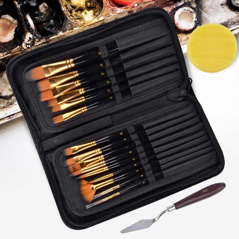 artist paint brushes 12 pieces nylon art paint set with 2 piece art paint tray pale acrylic acid and oil brush watercolor brush 15Pcs Artist Paint Brush Set Nylon Art Paint Brushes with Case for Gouache, Acrylics, Oil and Watercolor