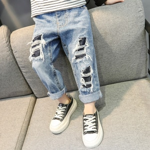 Kids Boys Girls Ripeed Jeans 2021 New Spring Summer Korean Style Denim Pants Children Casual Trousers Blue Pants Age For 18M-6Y