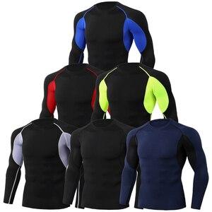 1PC Men's Compression Training Long Sleeve Tights Sports Quick Dry Rashgard Running T-shirt Gym T-shirt Fitness Shirt