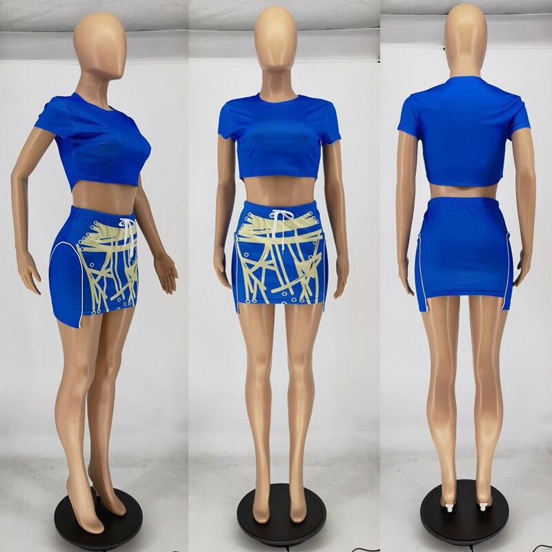 Оптовая продажа, летний комплект из двух предметов, Женская юбка и короткий топ, уличная одежда, Женский комплект с мини-юбкой, облегающие ко...
