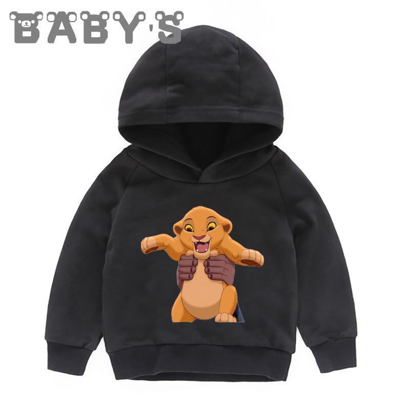 Crianças com capuz hoodies crianças dos desenhos animados leão rei engraçado simba sweatshirts bebê pulôver topos da criança meninas meninos roupas, kmt5315
