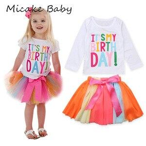 Summer Kids Baby Girls' Alphabet Tops T-shirt Skirt Multicolor Rainbow Infant Set Long Sleeve Dress Children Birthday Dresses