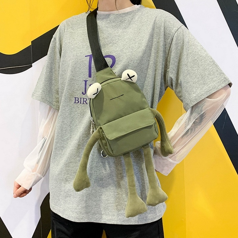Cartoon Cute Girl Small Bag Bolsa Casual Messenger Bag Chest Bag Mini Chain Shoulder Bags Crossbody Bag Unisex Tote Handbag