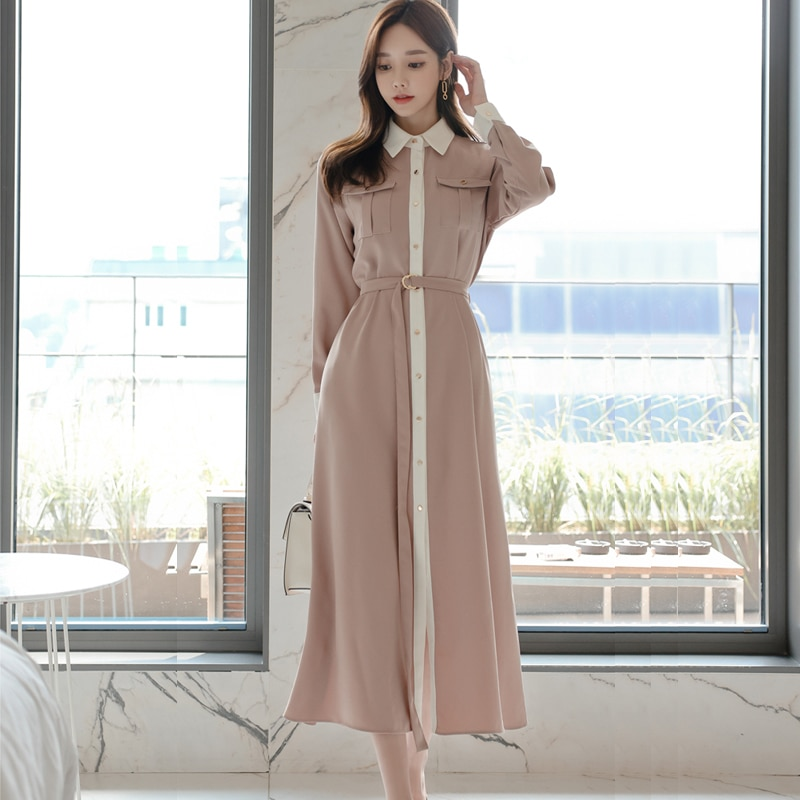 Autumn Elegant  Single-breasted Women Solid  Shirt Dress With Belt Office Lady Style Long Sleeve  Mid-length Dress Female spring autumn new fashion female button long sleeve office lady solid shirt dress women casual slim new dress