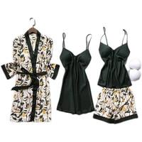 spring autumn women faux silk pajamas sets with chest pads flower print pyjamas sleepwear 4 pieces spaghetti strap satin pijama