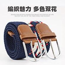 Cinturón de lona con hebilla para hombre y mujer, Cinturón trenzado, elástico, informal, 60 colores