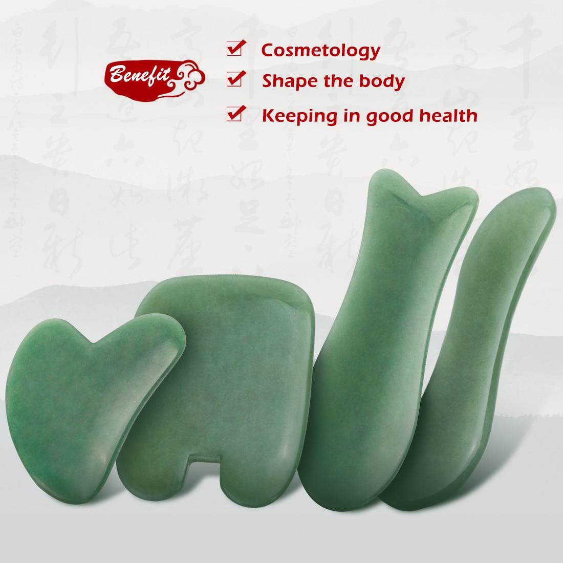 Natural Jade de Aventurina piedra Guasha herramienta de masaje acupuntura SPA terapia Gua masajeador Sha Tabla de raspado para el cuerpo de la cara trasera