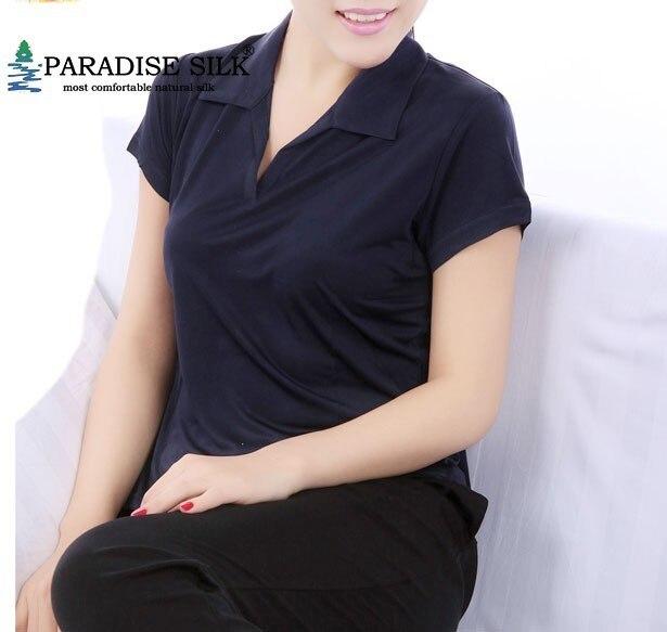 특별 제공 여성 티 탑 100% 순수 실크 니트 여름 짧은 소매 어머니 옷 티셔츠 크기 L XL XXL XXXL