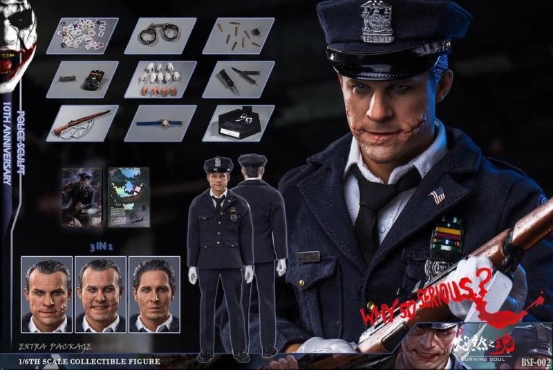 1/6 skala Polizei mann joker Bsf002 Batman Heath Ledger Clown polizist figur modell W 3 köpfe 10th anniversary durch Brennen seele