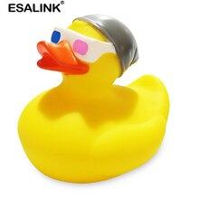 ESALINK 9Cm jouets de bain bébé jouets en caoutchouc canard Alphabet anglais T-Shirt canard enfants jouets flottants pour les filles