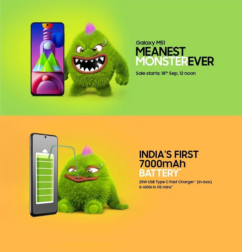 Фото2 - Оригинальный смартфон Samsung Galaxy M51 M515F-DSN глобальная версия 128 Гб ПЗУ 8 ГБ ОЗУ 6,7 дюйма 7000 мАч NFC Snapdragon 730G