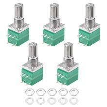 Potenciómetro RV097NS 5K 10K 20K 50K 100K 500K con interruptor, eje de 5 pines, 15mm, amplificador de Audio, potenciómetros ajustables, 5 unids/lote