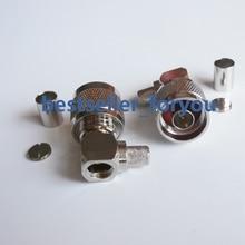N connecteur mâle à Angle droit   Prise RA Sloder sertissage pour connecteur RG5 RG6 LMR300 RG304 câble RF
