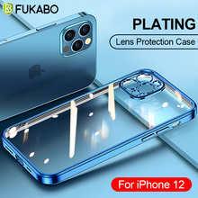 Роскошный чехол для телефона с квадратной рамкой и покрытием для iPhone 11 12 Pro Max XS XR X 12 Mini 7 8 6 6S Plus SE 2020, Прозрачная силиконовая задняя крышка про...