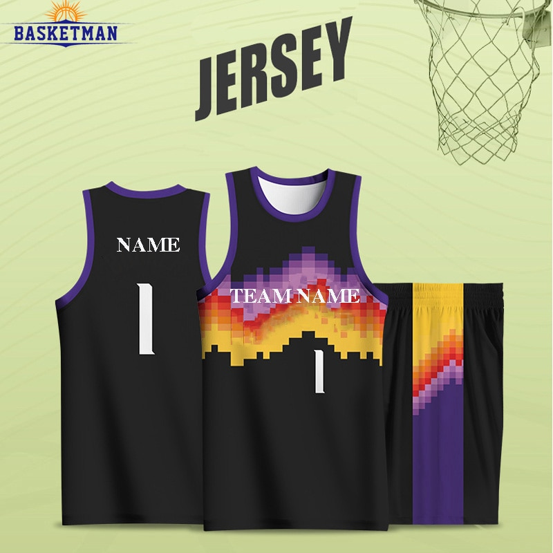 Full Sublimation Basketball Uniform For Men Sportwear Customizable Team Name Logo Jersey Sports Fitness Training Tracksuits Male
