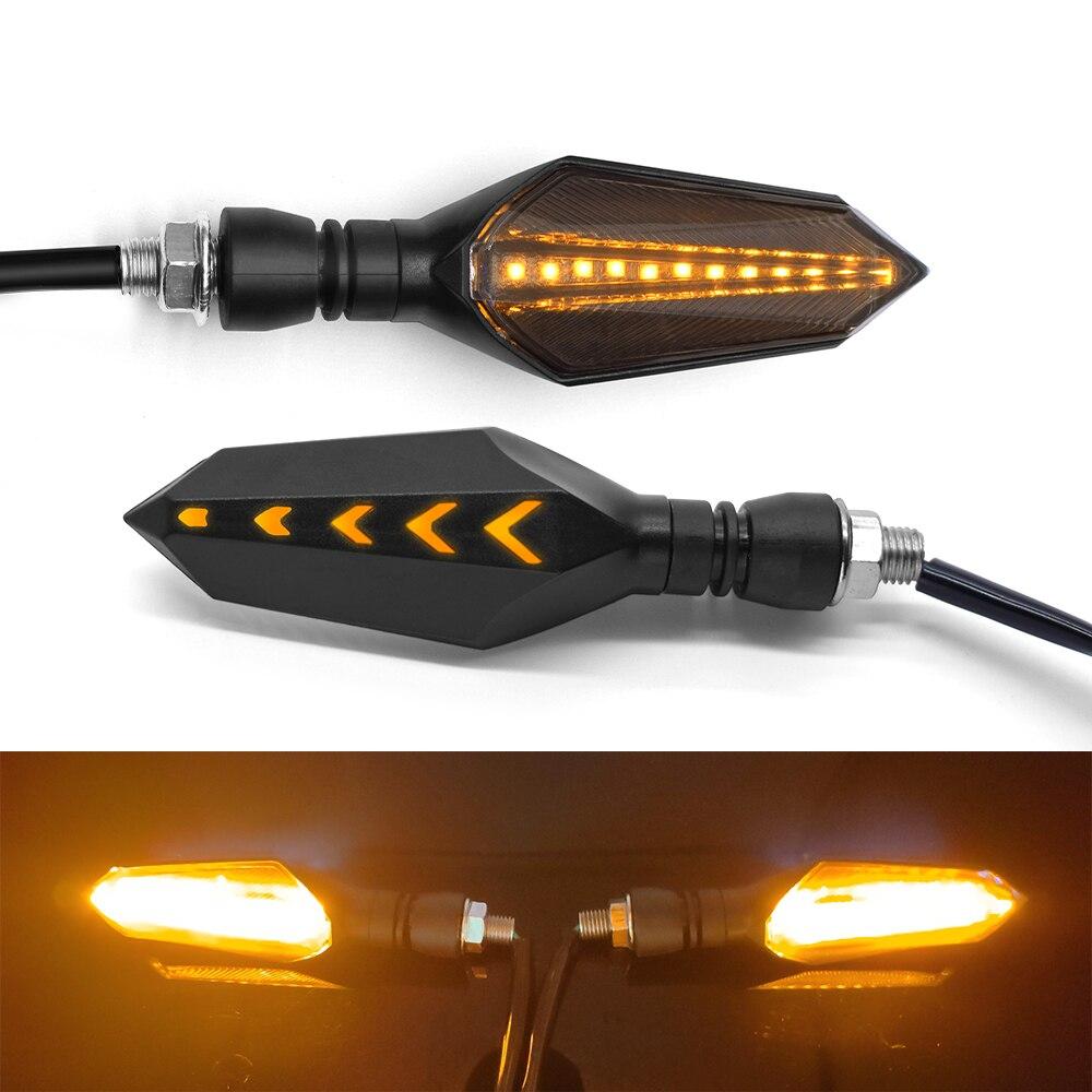 Intermitentes LED universales para motocicleta, flecha, lámpara ámbar, señal intermitente trasero, luces de freno, indicadores para Ducati Honda Yamaha