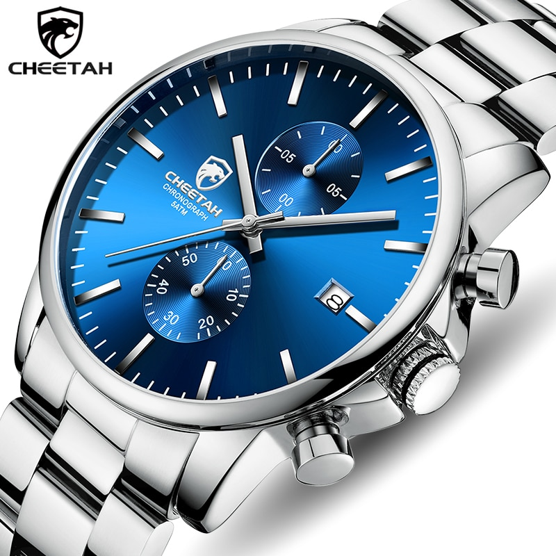 Reloj CHEETAH de lujo para hombre, reloj de pulsera informal de acero inoxidable, reloj deportivo resistente al agua