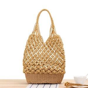 Fashion Lightweight Ins Hollow One Shoulder Woven Hand Mesh Straw Leisure Forest Beach Shopping Fruit Bag Handbag