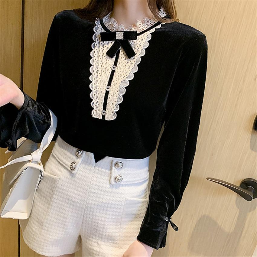 French Style Elegant Blouse Women Lace Patchwork Black Velvet Shirt Tops Autumn Winter Korean Clothes Undershirt