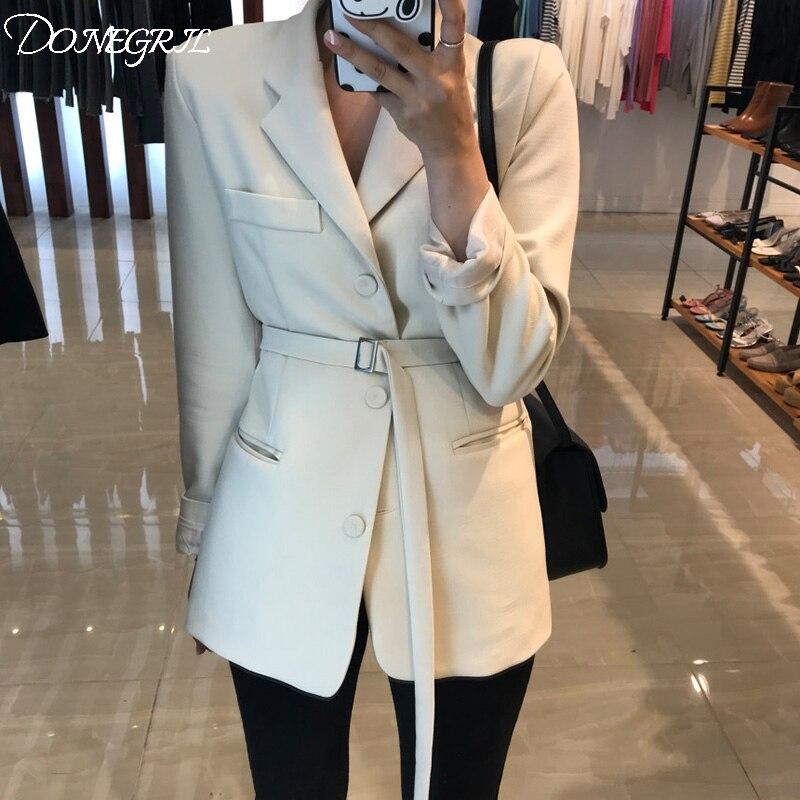 بدلة ربيعية ضيقة أنيقة ، بدلة سوداء طويلة OL ، جاكيت نسائي أبيض ، بليزر أوكرانيا ، ملابس رسمية ، مجموعة 2021
