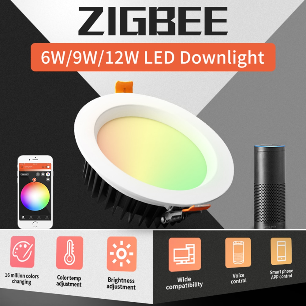 Zigbee-مصباح LED RGBCCT ذكي ، ضوء أبيض بارد ودافئ ، تحكم عن طريق التطبيق ، للمنزل ، غرفة النوم ، المدخل ، المطبخ ، المرحاض ، 9W