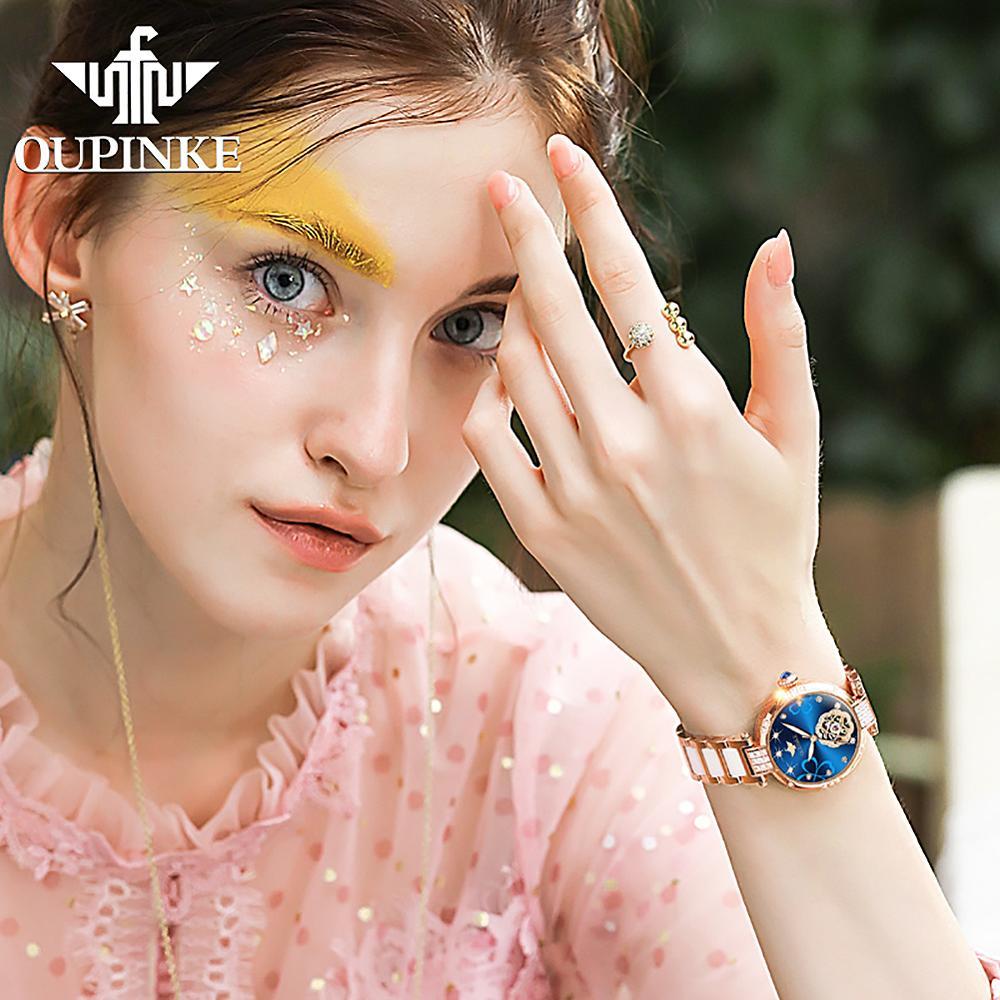 2020 New OUPINKE Women Watches Luxury Brand Automatic Mechanical Watch Fashion Ceramic Strap Ladies Wrist Watch relogio feminino enlarge