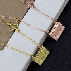 Novo design pássaro romântico amante carta pingentes doce charme envelope moda pingente para jóias femininas