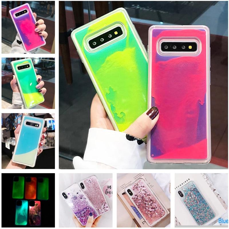 Luminous Neon Sand Cover Case For Samsung Galaxy S8 S9 S10 Plus Note 10 8 9 Pro Glow In The Dark Liquid Glitter Quicksand Cases