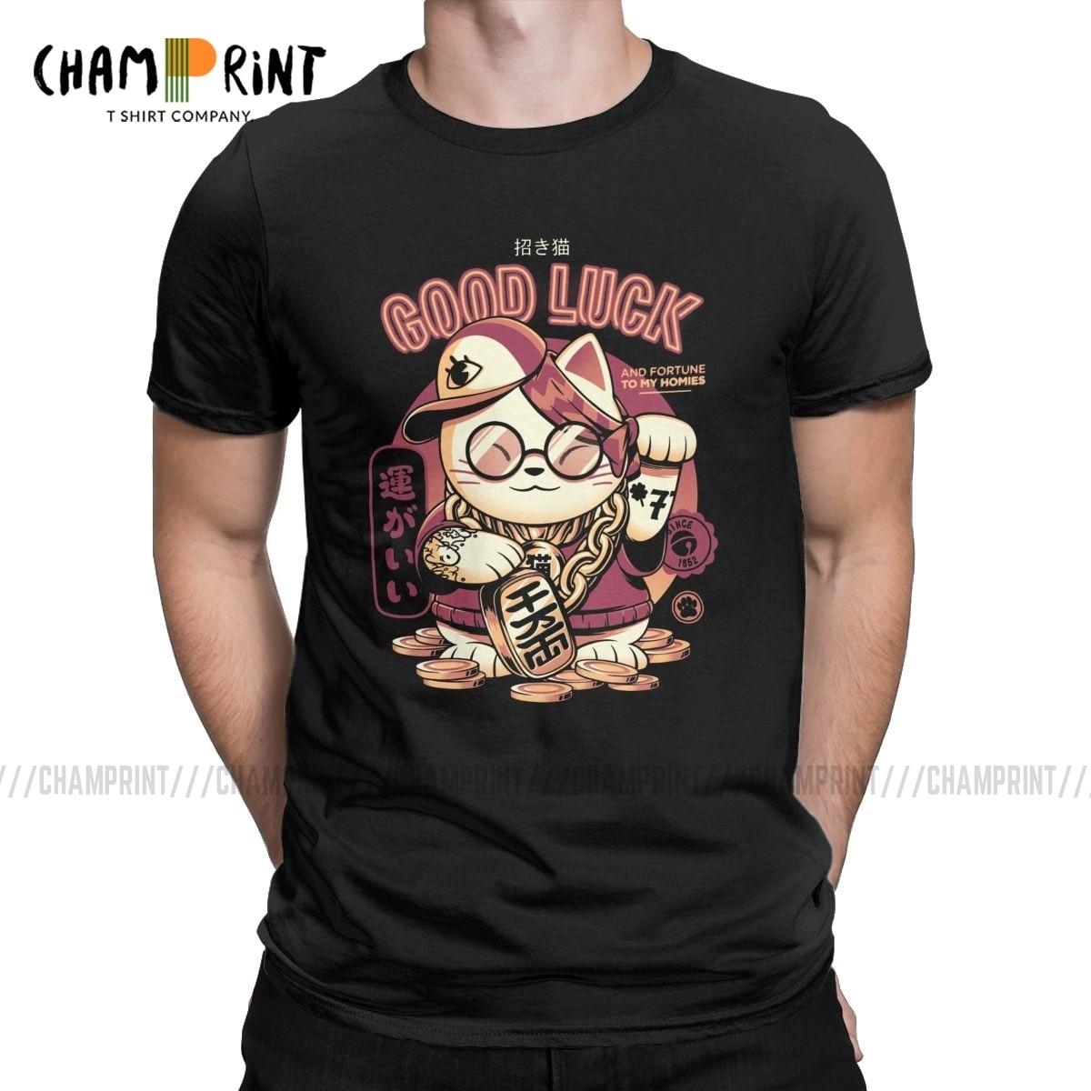 Camiseta de hombre gato de la suerte divertida manga corta Camiseta de algodón Maneki Neko Japón gato de La Fortuna camisetas de cuello redondo ropa de talla grande