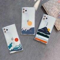 art abstract mount fuji japan landscape phone case transparent for iphone 7 8 11 12 se 2020 mini pro x xs xr max plus