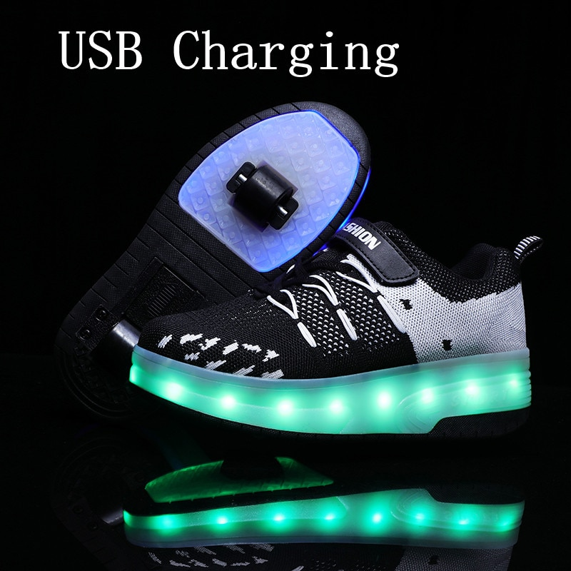 2020New 29-40 USB Lade Kinder Turnschuhe Mit 2 Räder Mädchen Jungen Led Schuhe Kinder Turnschuhe Mit Räder Roller skate Schuhe