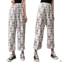 womens loose high waist long pants butterfly printed white fashion youth casual pants for women
