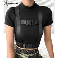 rockmore black bodycon gothic double buckle t shirt women cotton short sleeve t shirts female casual streetwear crop tops tees