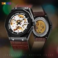 skmei creative mechanical men watches automatic wristwatch clock top brand leather strap relogio masculino reloj hombre 9248