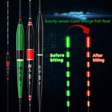Flotteur de pêche intelligent lumière LED flotteurs lumineux lumineux morsure de poisson rappeler automatiquement bouée de pêche électrique avec des piles