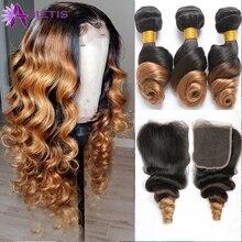 Extensiones de pelo ondulado con cierre, mechones de cabello humano brasileño Remy, Color ombré, T1B/4/27, 100%, 3 mechones con cierre de doble trama